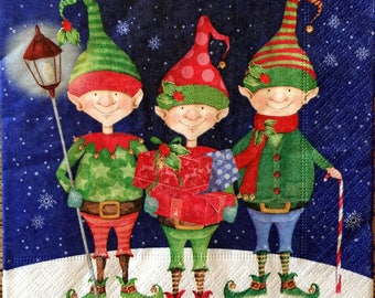 Decoupage Napkins, 4+1 FREE Single  Paper Napkins, Christmas Trolls, 13 inches (33 cm) for Decoupage, Paper-Craft and Collage
