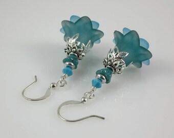 Silver Aqua Blue Lucite Flower Czech Glass and Swarovski Crystal Earrings