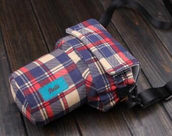DSLR camera bag Custom name digital camera backpack carry On Bag Plaid DSLR camera case SLR camera bag