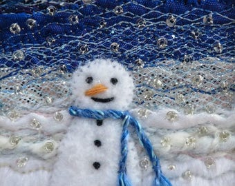 Snowman Christmas card - handmade 5.5 inch square fabric art card - beaded embroidered winter landscape Xmas card