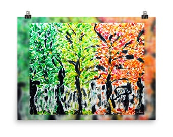 Seasons Trees Photo paper poster