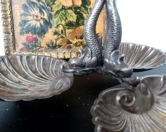 Rococo Style Silver Plated Triple Shell Candy Dish- Fontana del Pantheon Fountain - Piazza della Rotonda -Made in Spain