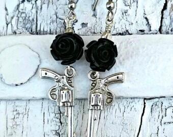 Black Rose Pistol Earrings, GUN EARRINGS, Western Jewelry, Antique Silver, Nickel Free