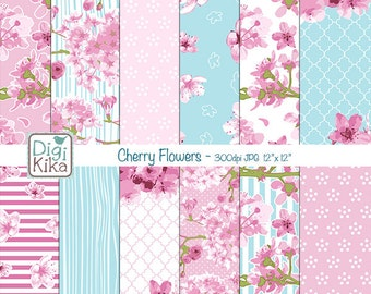 Cherry Flowers Digital Papers, Cherry Blossom Scrapbook Paper - Cherry Blossom  Papers - Cherry Flowers Background - INSTANT D