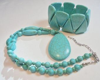 Vintage Faux Turquoise Pendant Necklace / Bracelet POP ART Retro Art Deco Statement Runway Chunky Large