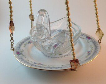 Unique Swan bird feeder with fine china and vintage necklace as hanger