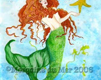 Red-Haired Mermaid with Starfish Print Fantasy Art Sea Siren Ink and Watercolour Illustration Under the Sea Wall Art Beach or Bathroom Decor