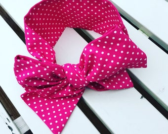 Girl's Headwrap Big Bow Cotton Headband in bright cerise pink and white cotton spotty fabric