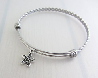 Flower Charm Stainless Steel Bangle, Silver Flower Charm Bracelet, Flower Bangle, Stackable Bracelet, Gardeners Gift, Nature Plant Gift