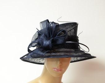 Navy Sinamay medium size brim hat, Kentucky Derby Hat, English Royal Hat, Wedding Hat,Formal Hat, Dressy Hat, Church Hat