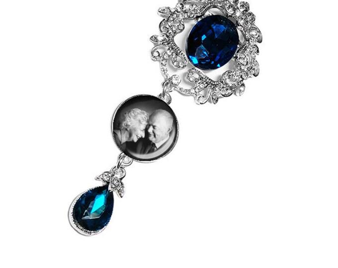 Something Blue Wedding Bouquet Photo Charm, Bridal Bouquet Pin, Custom Memory Charm, Personalized Memorial Bridal Charm, Wedding Brooch