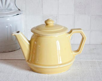 Very cute little ceramic teapot pink and blue - Romantic French vintage teapot - Shabby chic style