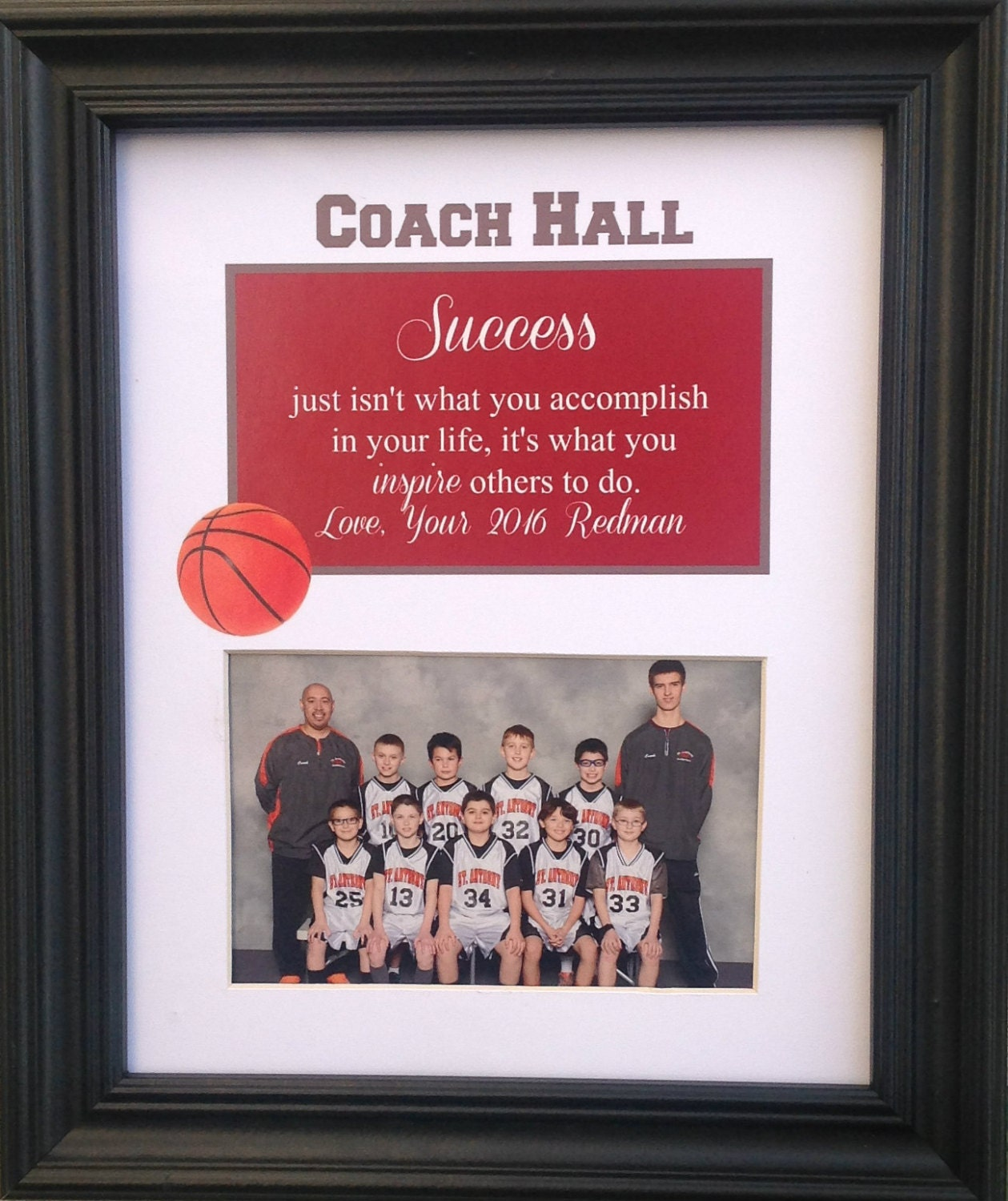 Basketball coach thank you gift personalized picture frame zoom jeuxipadfo Gallery