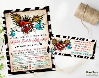 Rockabilly Baby Shower Invitation Winged Tattoo Heart Zebra Printable Invites Rock N Roll Baby Shower DIY Printable Diaper Raffle Card