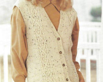 PDF Instant Digital Download ladies gilet waistcoat knitting pattern 30/44 inch bust sizes 8 to 22 (208)
