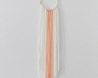 Ivory White + Peach Pink Modern Bohemian Yarn Wall Hanging