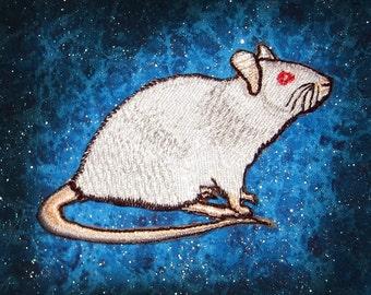 Fancy Albino White Rat  Iron on Patch