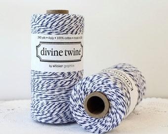 Navy Blue Bakers Twine - 240 Yards. Divine Twine, Blue and White Twine. Blue String, Bakers Twine, Blue Twine, Wedding, DIY Craft Supplies