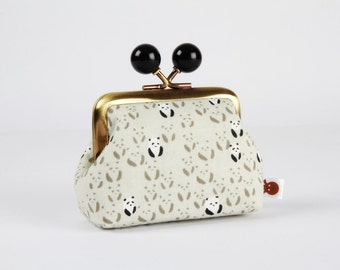 Metal frame coin purse with color bobbles - Panda bebe in black and white - Color mum / Japanese fabric / Cotton and STeel / Grey