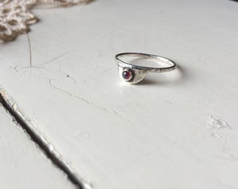 Hammered Crescent Ring with Garnet, Sterling Silver, ready to ship in size 7 and 7.5
