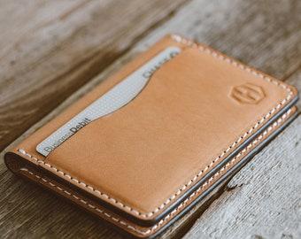 Genuine High Quality Bifold Veg Tan Leather 5 Pocket Credit Card Wallet, Leather Men's Wallet, Gift For Dad