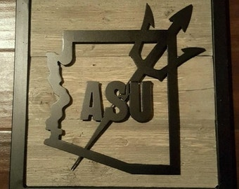 Arizona State University, ASU, Framed Metal Art with Reclaimed Wood, State Sillouette Sign