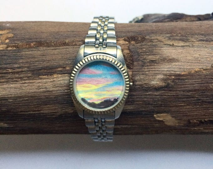 Stimulus / tiny original painting framed in timeless watch / sunset painting / sky art / skyscape