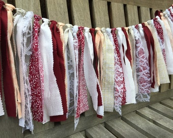 Bridal shower decor, Fabric garland, Rustic wedding decor, Burgundy and cream wedding, Photo prop, Ribbon garland