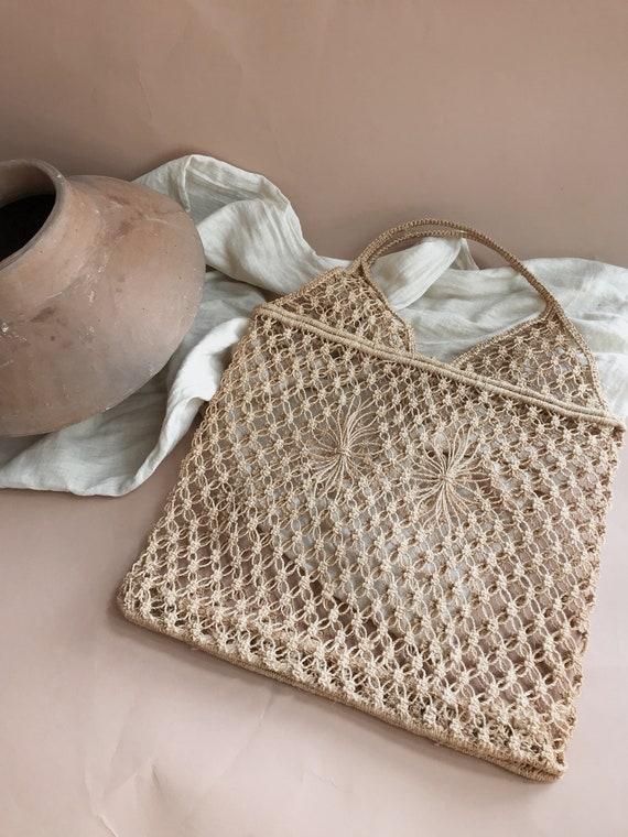vintage jute macrame bag