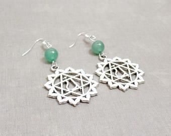 Heart Chakra Earrings - Aventurine Earrings - Green - Gemstone Earrings -  Silver Chakra