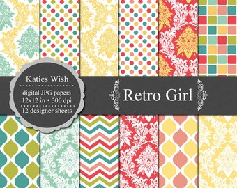 Instant Download Retro Girl Digital Paper Kit  12x12 inch jpgs files for Commercial Use