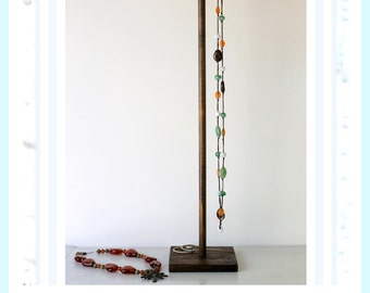 Long Tall Jewelry Organizer, Dark Brown Wooden Craft Show Display Rack, Necklace Storage, Lanyard Tree, Retail fixture Scarf Holder Tie Belt