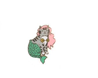 Mermaid Cat Enamel Pin - Mercat  enamel pin - cat mermaid - Mermaid enamel pin - Cute Cat enamel Pin - lapel pin hat pin
