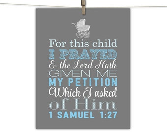 christian nursery art - scripture 1 samuel 27 - for this child I have prayed - boys nursery decor - baby boy - religious subway art