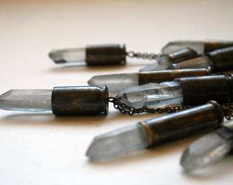 Ice Blue Bullet Crystal Necklace