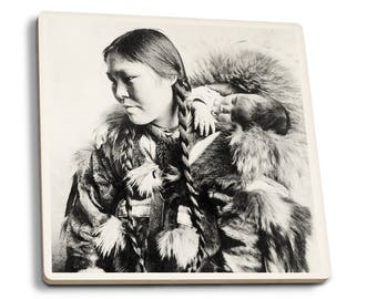 Eskimo Mother and Child in AK - Vintage Photo (Set of 4 Ceramic Coasters)