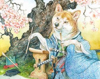 The Samurai Poet (print) shiba inu, doge, watercolor, dog art, painting, animal artwork, illustration