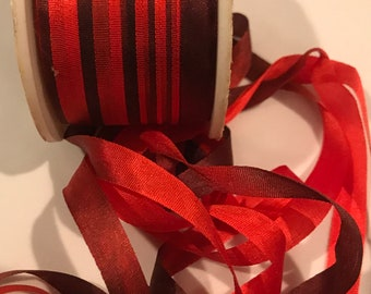 CLOSE-OUT Red and burgundy 7mm silk ribbon 3 yards