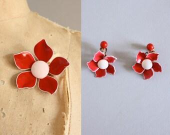 Vintage 60s Brooch/ 1960s Enamel Brooch/ Matching Pink Enamel Brooch & Earrings