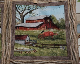 Country Farm with Old Barn Wall Fabric Art