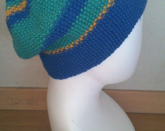 KNITTING PATTERN colorblock baggy hat in seed stitch, slouchy beanie pattern, beanie knitting pattern, slouchy hat pattern, seed stitch hat