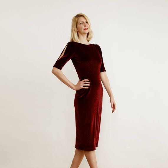 Lombard Womens Red Velvet Evening Cocktail Dress with Split