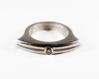 Sterling Silver 18k Yellow Gold Modern Diamond Ring
