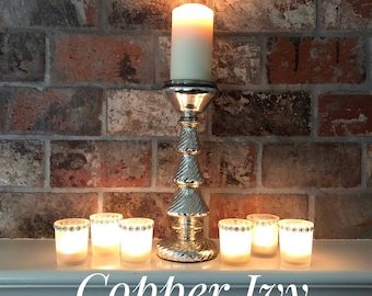 Set of 6 - Glass Frosted Votive Holders Adorned With Silver Charms