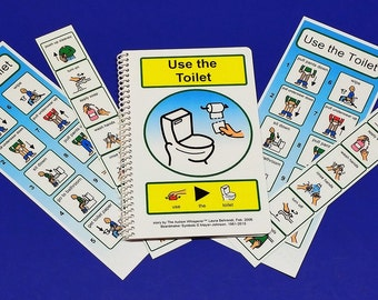 Potty Training Set for Autism - PCS Visual Aid for Using the Toilet - Hand Washing PECS Schedules and Two Potty Schedules for Bathroom