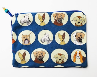 Dog print zip bag