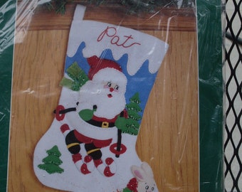 Bucilla Felt Christmas Skiing Santa Stocking Kit