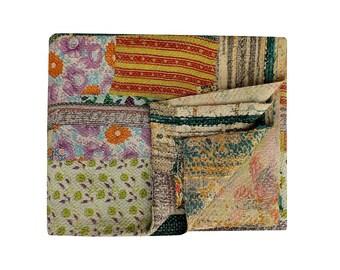 Amazing Kantha Quilt, Vintage quilt, reversible cotton Gudari, Bohemian bedding Blanket, Boho Throw