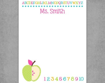 Teacher Notepad - Delicious Lime Green Polka Dot Apple with ABC and 123 in Pink, Teal & Lime - Personalized Custom Notepads - *Stephanie*