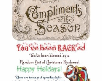 RACK Calling Cards Printable Random Acts of Christmas Kindness Vintage Compliments of the Season